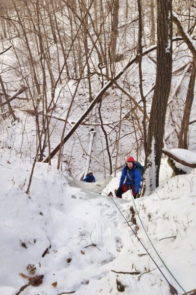 Drake and Tim seconding the Relien Ravine in winter conditions.