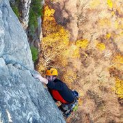 Rock Climbing Photo: Jason nearing the end of the last pitch, on High E...