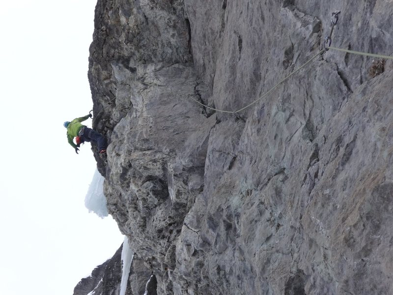 Rock Climbing Photo: About to gain the ice.