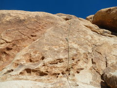 Rock Climbing Photo: Looking up at the first slab section with two bolt...