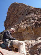 Rock Climbing Photo: Relaxing on a nice ledge on the route with the res...