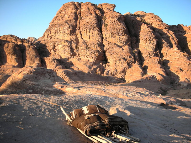 The view too the south side of Jebel Alzrb from a Bedouin Camp all packed up and ready to move on.