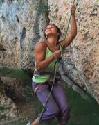 Rock Climbing Photo: Belayer lifted, brake hand above device, at 6:03.