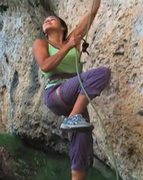 Rock Climbing Photo: Belayer lifted, brake hand above device, at 6:05.