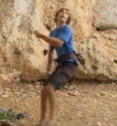Rock Climbing Photo: Belayer dragged forward, braking hand below device...