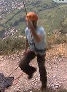 Rock Climbing Photo: Belayer lifted, brake hand below device, at 5:59.