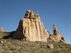 Sisyphus Pinnacles seen from the Dutchman's Trail approach.