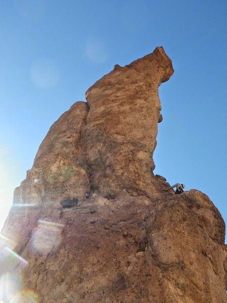 Rock Climbing Photo: Looking around corner of the first pitch on Casper...