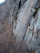 Rock Climbing Photo: Climber stands in the shallow stem box after makin...