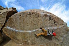 Rock Climbing Photo: Seth working on Iron Man