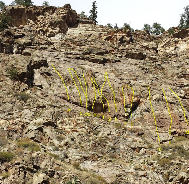 Rock Climbing Photo: Routes on Other Critters Crag:  a - Yellow Dog Din...
