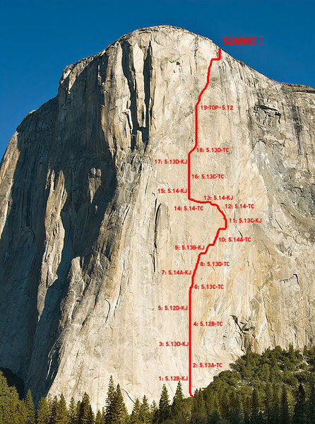 Rock Climbing Photo: Topo of Dawn Wall on El Capitan