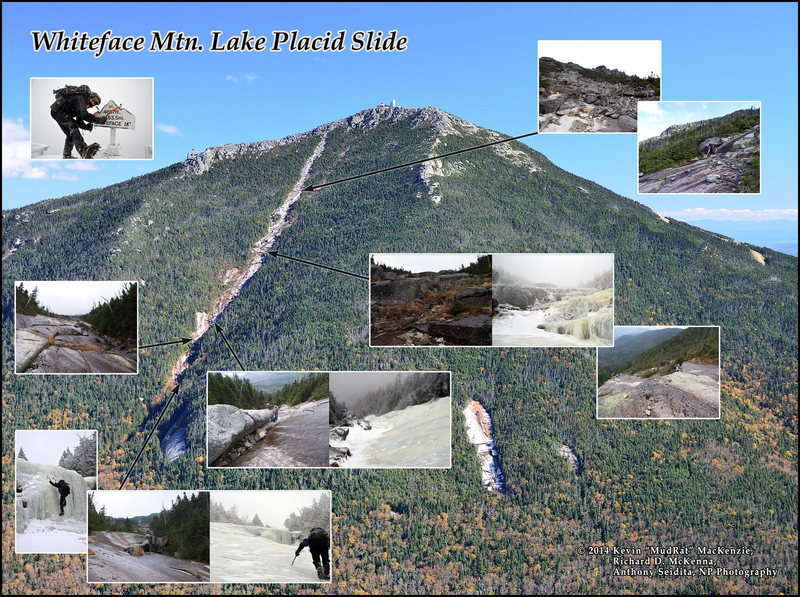 Lake Placid Slide on Whiteface Mountain's SW aspect. The earliest recollections of this slide date back to about 1808