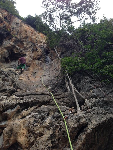 Rock Climbing Photo: nearing the top (groove tube is on the right with ...