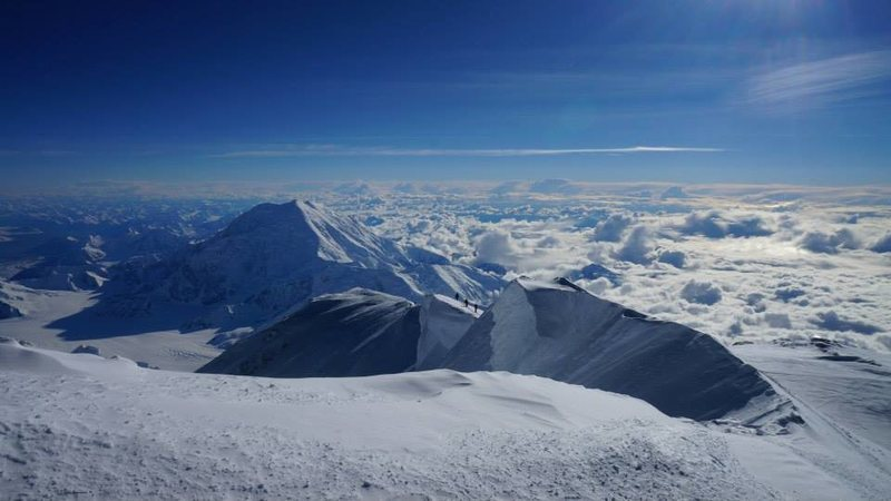 Rock Climbing Photo: Looking back on summit ridge of Denali. Foraker in...