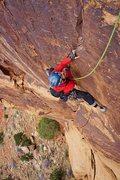 Rock Climbing Photo: Richard Shore following the P1/2 linkup. Photo by ...