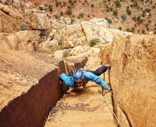 Rock Climbing Photo: Richard Shore following P7. Photo by Brian Prince