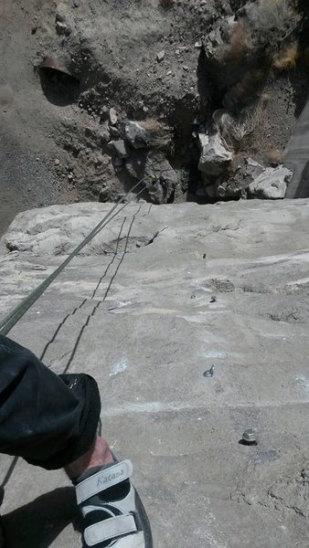 Rock Climbing Photo: looking down on Cement overshoes