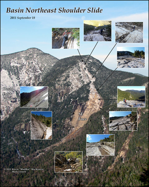 Basin Mountain's Northeast Shoulder Slide. The SE face was a previous exposure that was enlarged in 2011 along with the runout below the face and track above the slide. For more read: https://dl.dropboxusercontent.com/u/44137760/published/2012_adirondac_march_mudrat_basin_draft.pdf