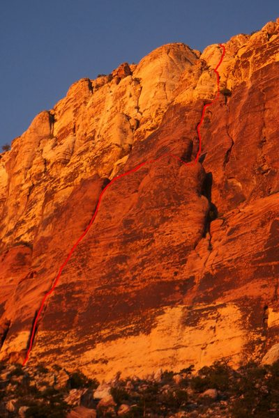 Rock Climbing Photo: The route as seen on the approach.