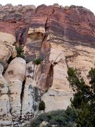 Rock Climbing Photo: From below on a cloudy day before the first ascent...