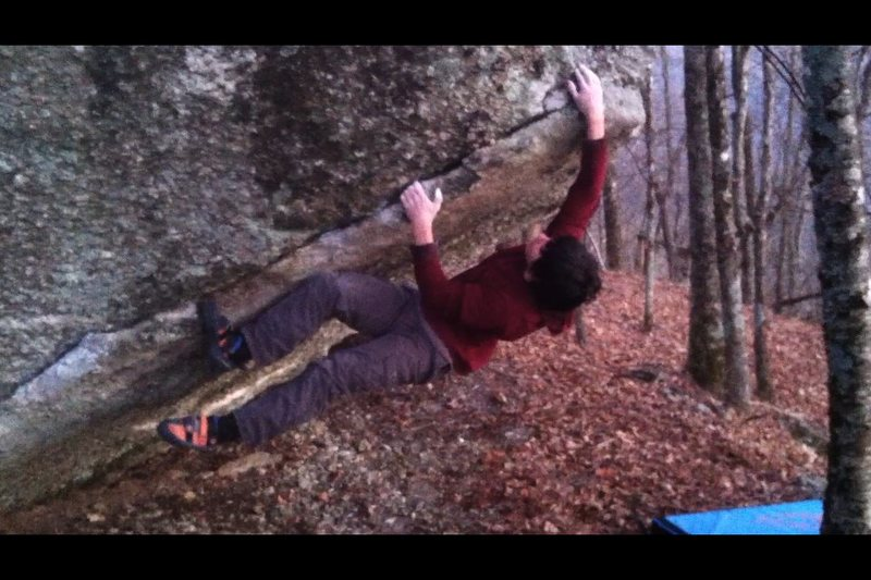 Rock Climbing Photo: Following the jugs up Old Man's Crack.