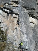 Rock Climbing Photo: Michelle on the first pitch of Apathy