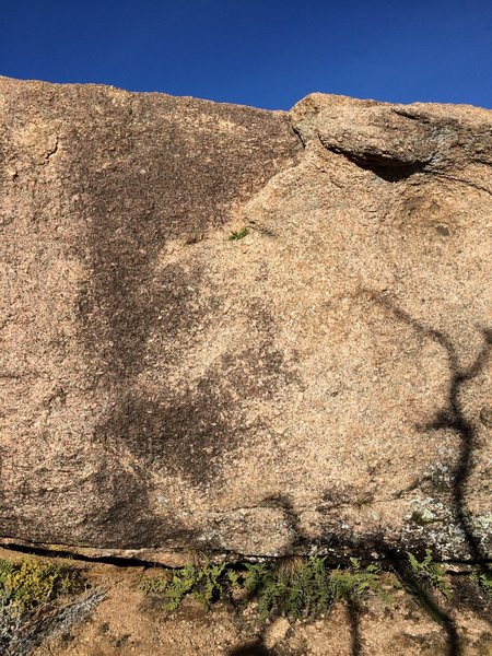 Rock Climbing Photo: Look for the horizontal seam with some grass growi...