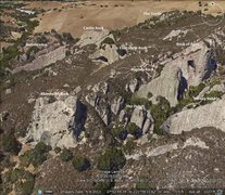 Rock Climbing Photo: Pine Canyon Overview with Formation names