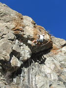 Rock Climbing Photo: Paul at the crux of Curious George Goes Climbing.