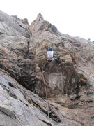 Rock Climbing Photo: Paul in the crux of Hamster Huey on a cold first a...