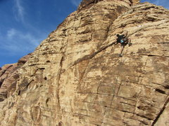 Rock Climbing Photo: Mike Lorenzo wrapping up the onsight of Poltergeis...