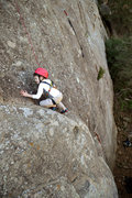 Rock Climbing Photo: Past the major difficulties, five-year-old Wesley ...