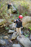 Rock Climbing Photo: Bryson Fienup crosses San Ysidro creek, at the foo...