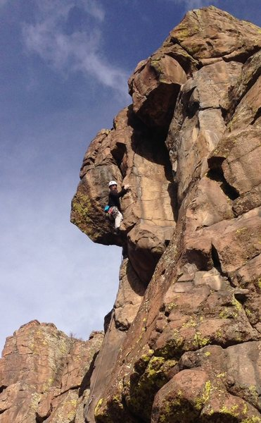 Rock Climbing Photo: Moving through the dihedral, almost to the topout ...