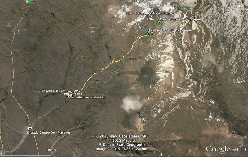 Rock Climbing Photo: Google Earth screenshot of the trail/access