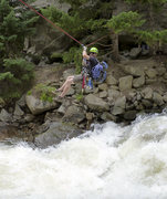 Rock Climbing Photo: Crossing back over the river after climbing Cob Ro...