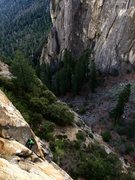 Rock Climbing Photo: Brian Prince following P2 of Mary's Tears