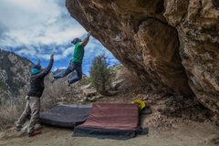 Rock Climbing Photo: Sticking the crux toss!  Really exciting, dynamic ...