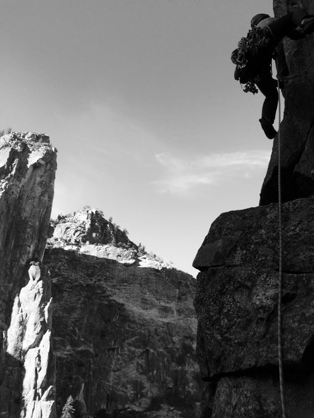 Rock Climbing Photo: Brian Prince leading the P4/5 linkup