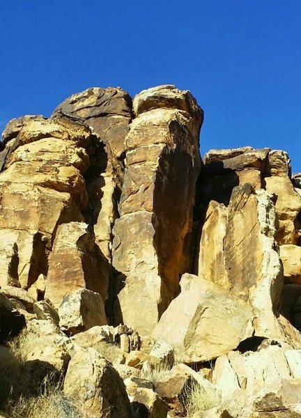 climb is on the sunny face of the center pillar