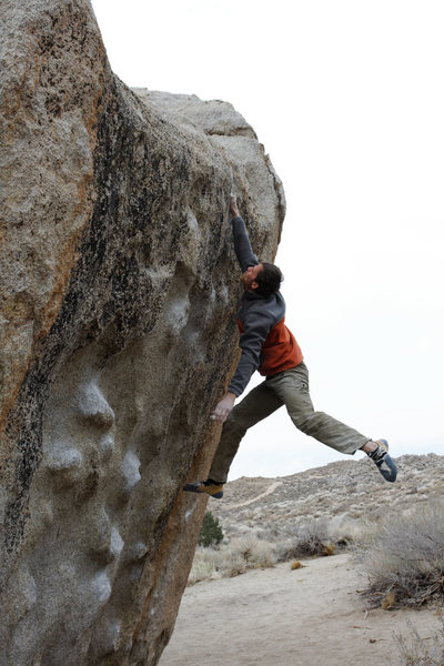 After working the route all day, I finally stick the dyno to finish the route on my last day in Bishop. Amazing!