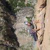 "Enrico climbing on ""Zebda"" (7b+ - Paroi des Sources)"