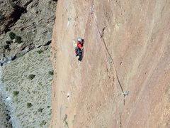 Rock Climbing Photo: Massimo Da Pozzo climbing the new route on Mt. Ouj...