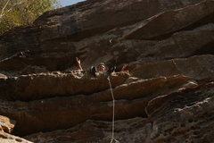 Rock Climbing Photo: Good place for Gardner to clip the anchors on his ...