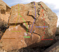 Rock Climbing Photo: Original topo with line added (in red).