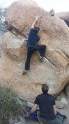 Rock Climbing Photo: Left hand crossed, eyeing the jug.
