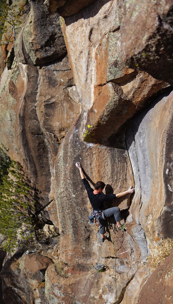 Rock Climbing Photo: Walshie approaching the crux on his onsight second...