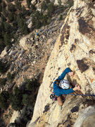 Rock Climbing Photo: Crux section of P1.