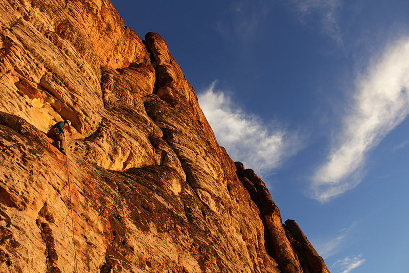 Rock Climbing Photo: Rapping off at sunset.